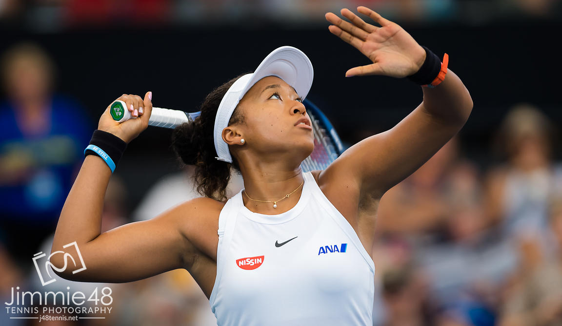 Naomi Osaka of Japan in action during her quarter-final match at the 2020 Brisbane International WTA Premier tennis tournament