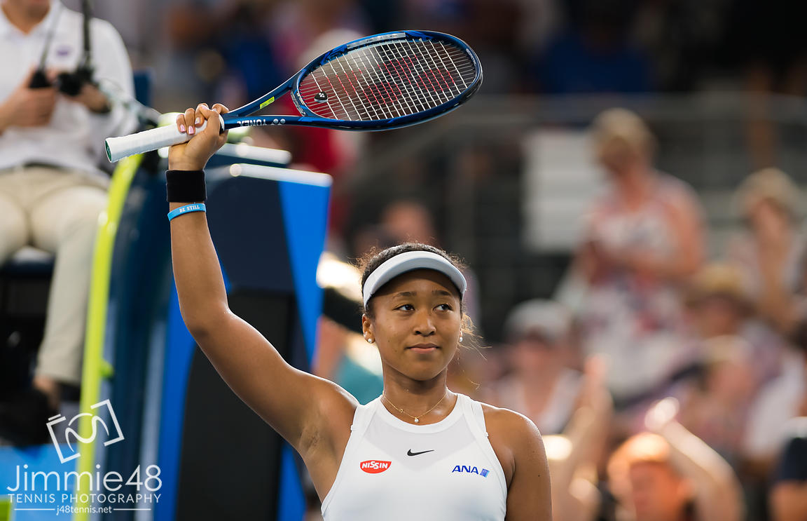 Naomi Osaka of Japan after winning her quarter-final match at the 2020 Brisbane International WTA Premier tennis tournament