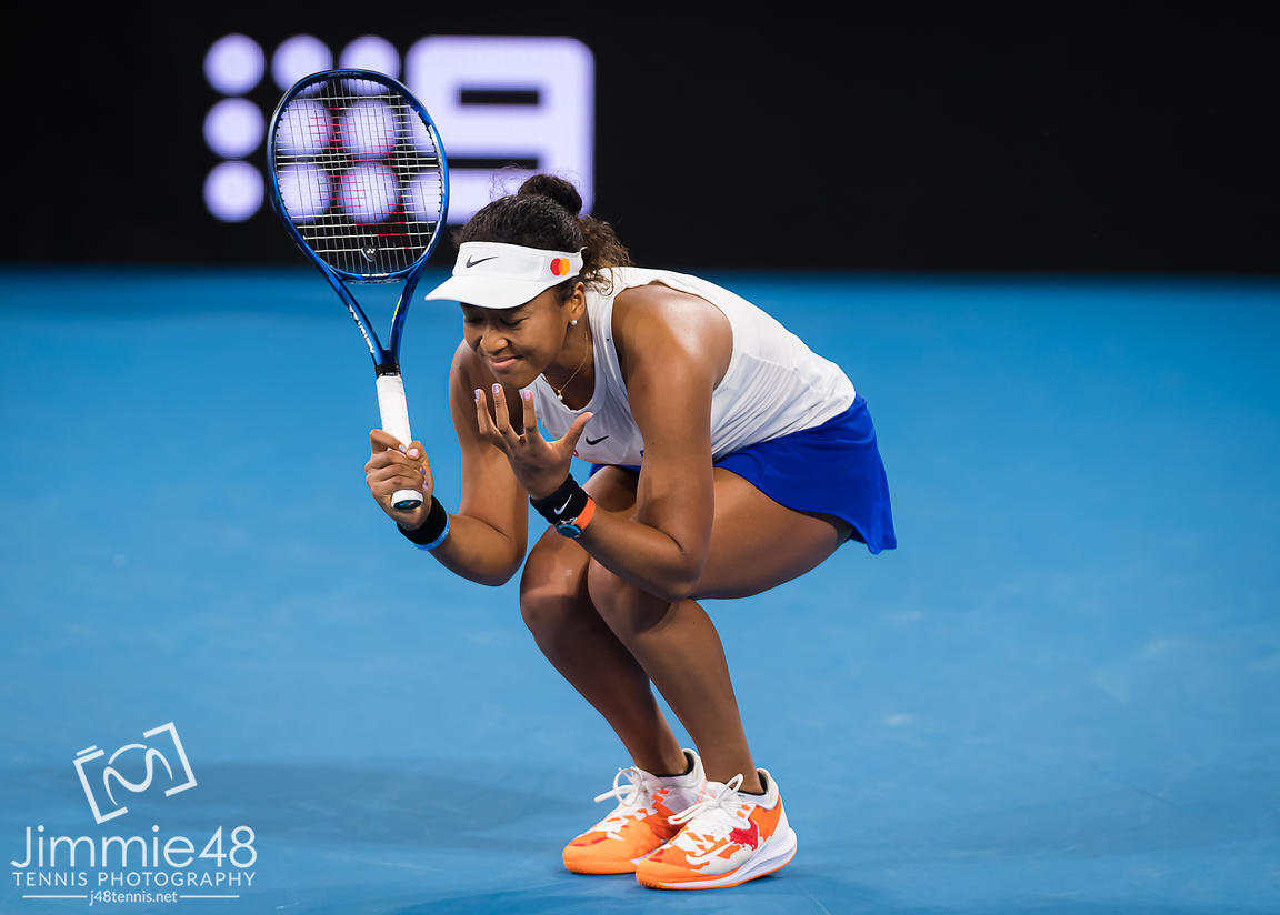 Naomi Osaka of Japan in action during her semi-final match at the 2020 Brisbane International WTA Premier tennis tournament