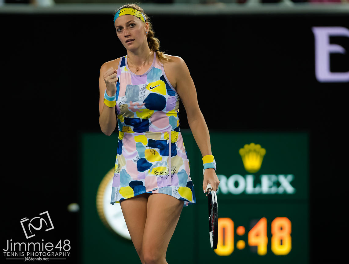 Petra Kvitova of the Czech Republic in action during her first round match at the 2020 Australian Open Grand Slam tennis tournament