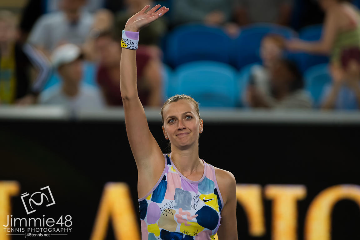 Petra Kvitova of the Czech Republic after winning her first round match at the 2020 Australian Open Grand Slam tennis tournament