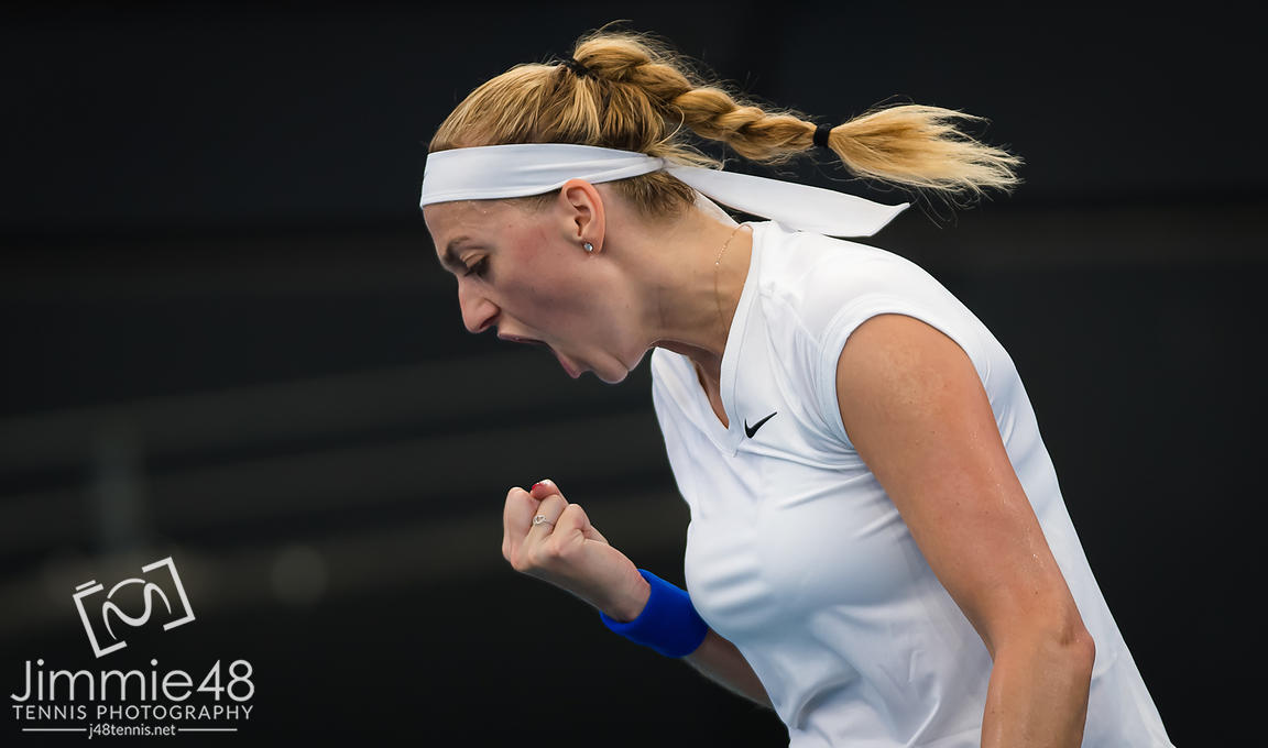 Petra Kvitova of the Czech Republic in action during her quarter-final match at the 2020 Brisbane International WTA Premier tennis tournament