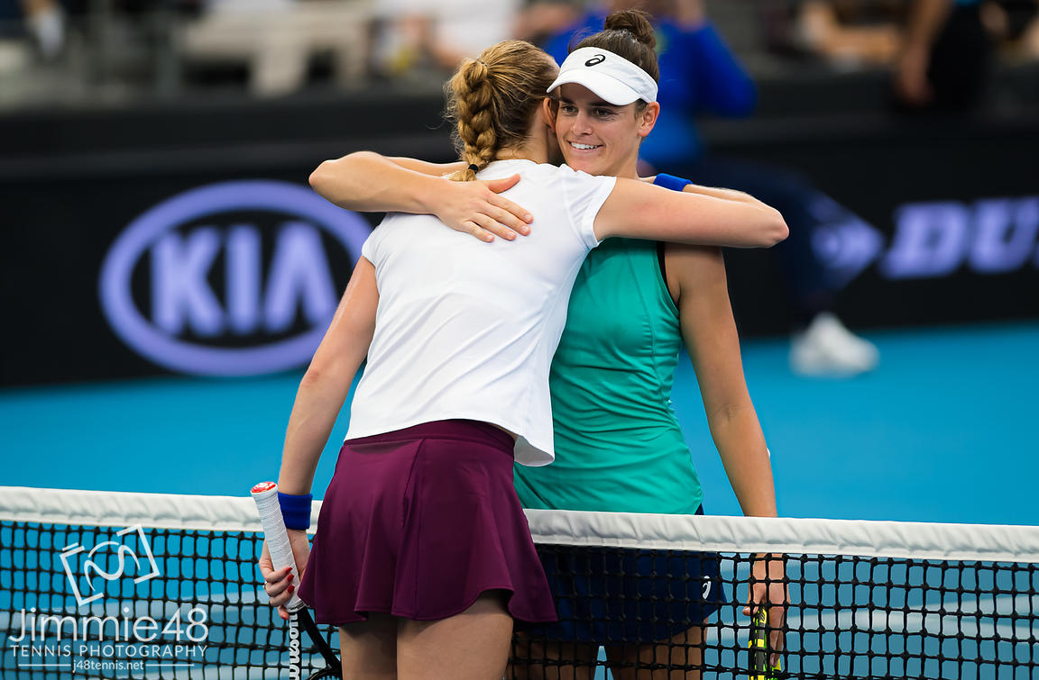 Petra Kvitova of the Czech Republic & Jennifer Brady of the United States at the net after their quarter-final match at the 2020 Brisbane International WTA Premier tennis tournament