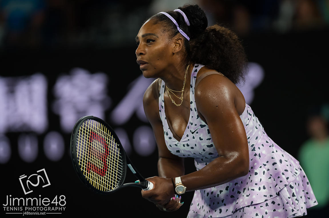 Serena Williams of the United States in action during her second round match at the 2020 Australian Open Grand Slam tennis tournament