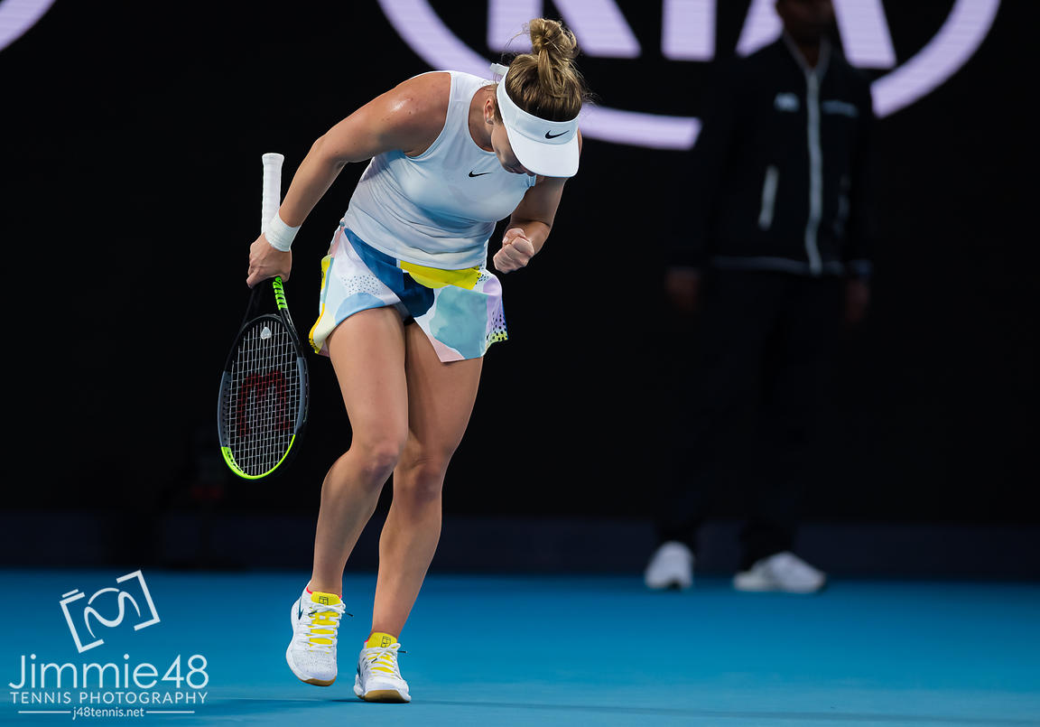 Simona Halep of Romania in action during her second round match at the 2020 Australian Open Grand Slam tennis tournament