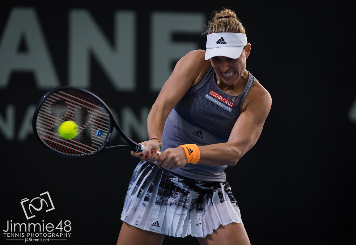 Angelique Kerber of Germany in action during her first-round match at the 2020 Brisbane International WTA Premier tennis tournament
