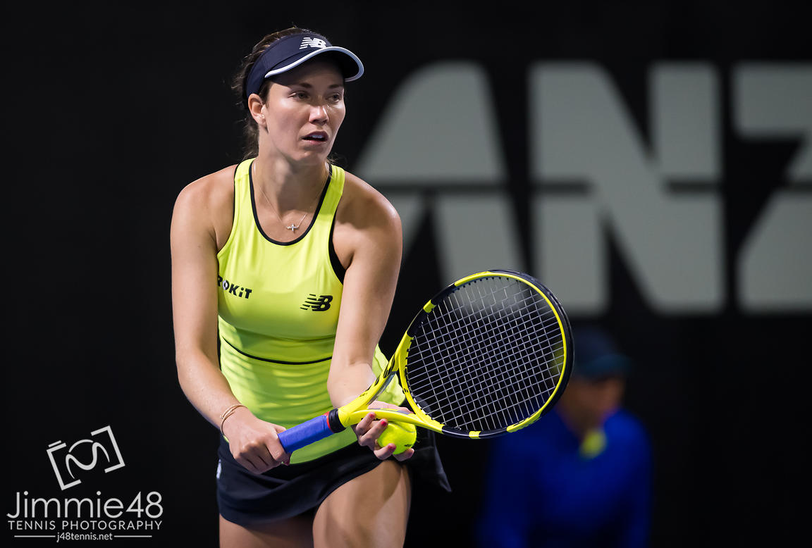 Danielle Collins of the United States in action during the first round at the 2020 Brisbane International WTA Premier tennis tournament