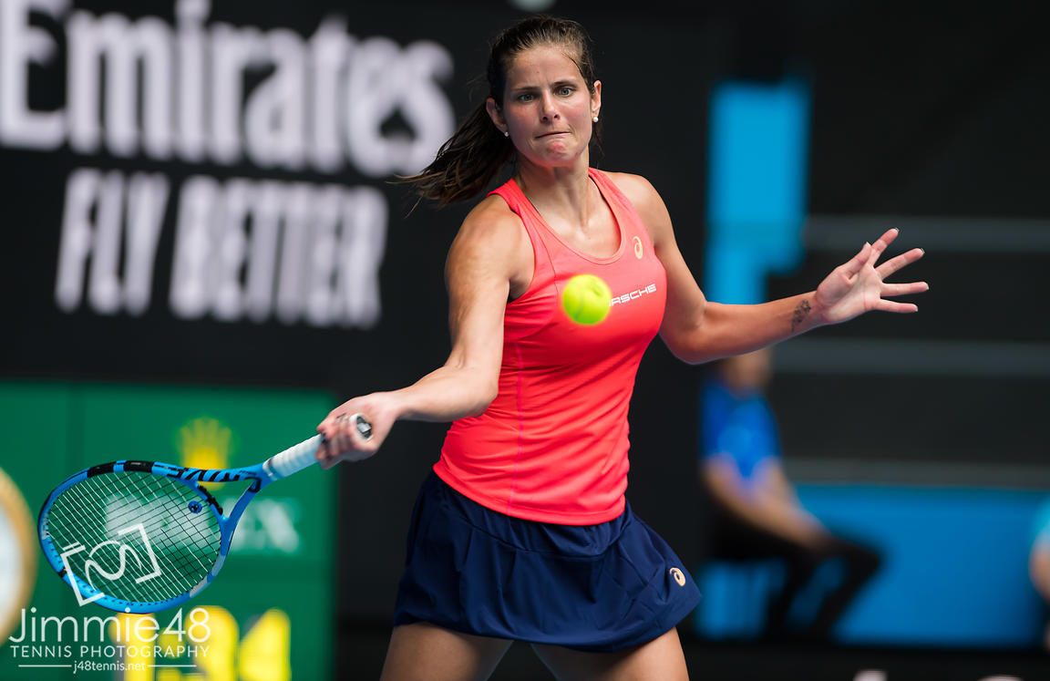 Julia Goerges of Germany in action during her second round match at the 2020 Australian Open Grand Slam tennis tournament