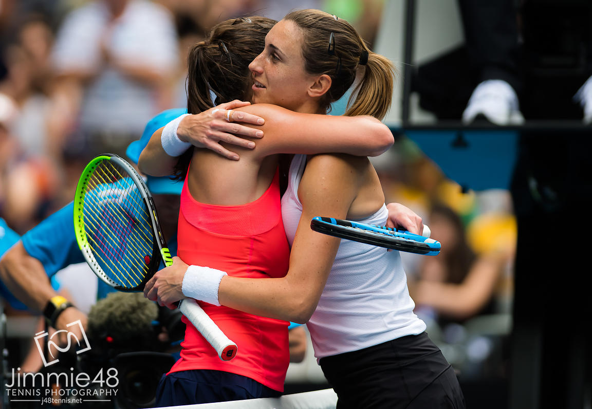 Julia Goerges of Germany & Petra Martic of Croatia at the net after their second round match at the 2020 Australian Open Grand Slam tennis tournament