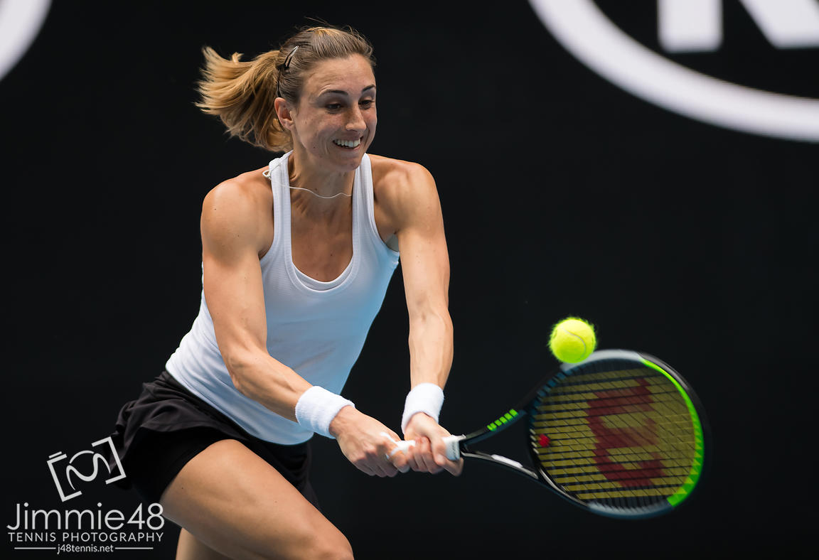 Petra Martic of Croatia in action during her second round match at the 2020 Australian Open Grand Slam tennis tournament