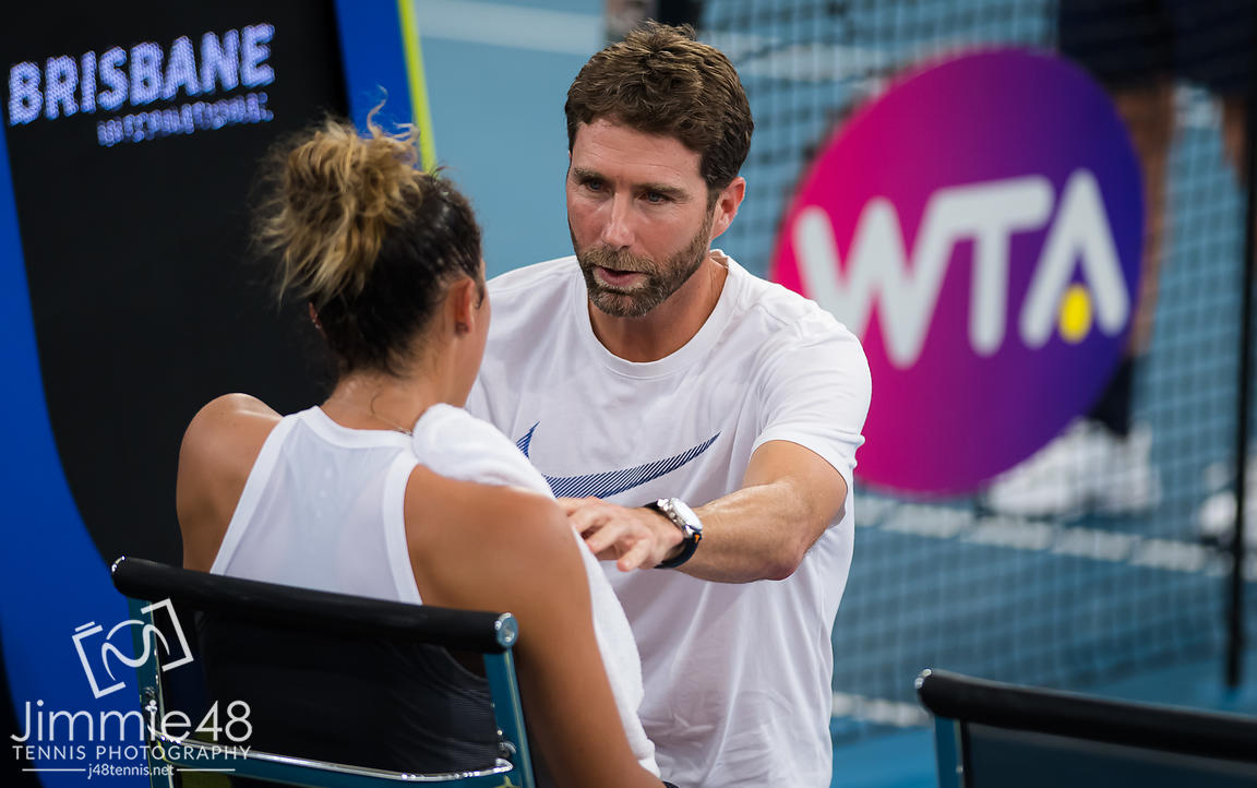 Madison Keys of the United States listens to coach Juan Todero during her semi-final match at the 2020 Brisbane International WTA Premier tennis tournament
