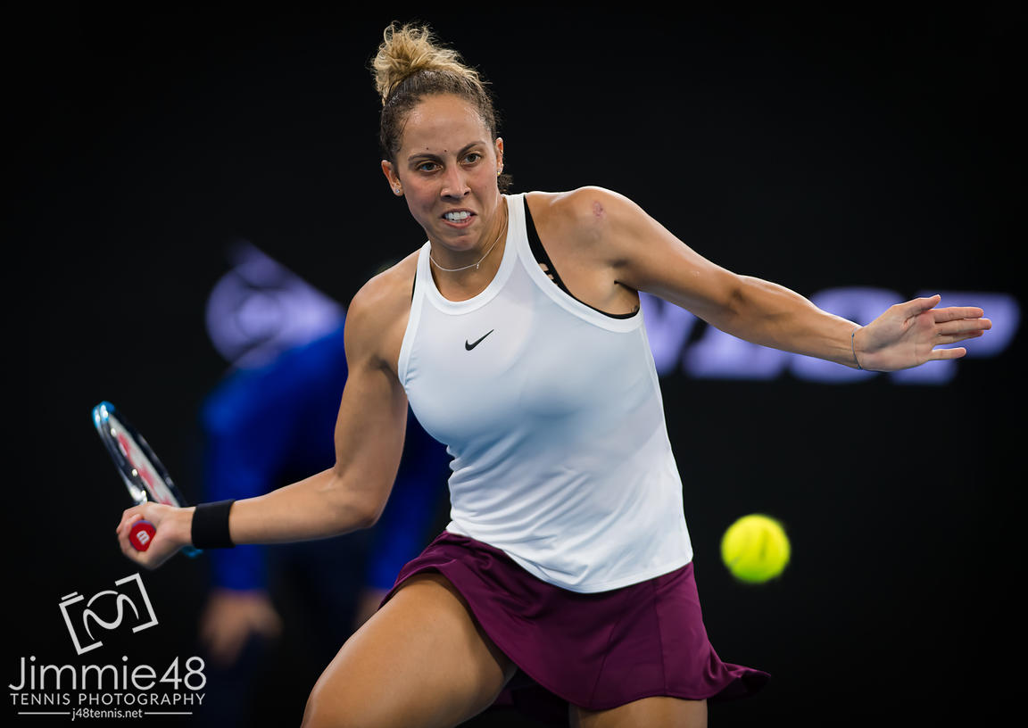 Madison Keys of the United States in action during her semi-final match at the 2020 Brisbane International WTA Premier tennis tournament