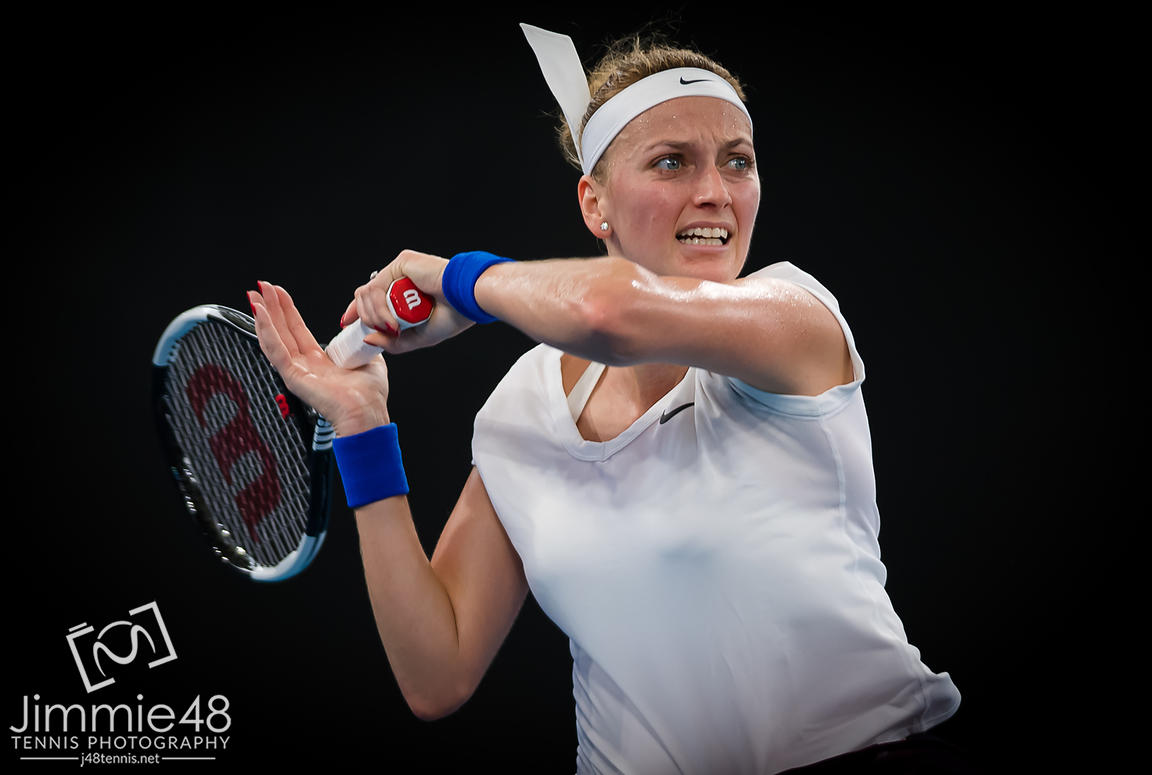 Petra Kvitova of the Czech Republic in action during her semi-final match at the 2020 Brisbane International WTA Premier tennis tournament