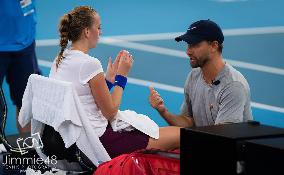 Petra Kvitova of the Czech Republic listens to coach Jiri Vanek during her semi-final match at the 2020 Brisbane International WTA Premier tennis tournament