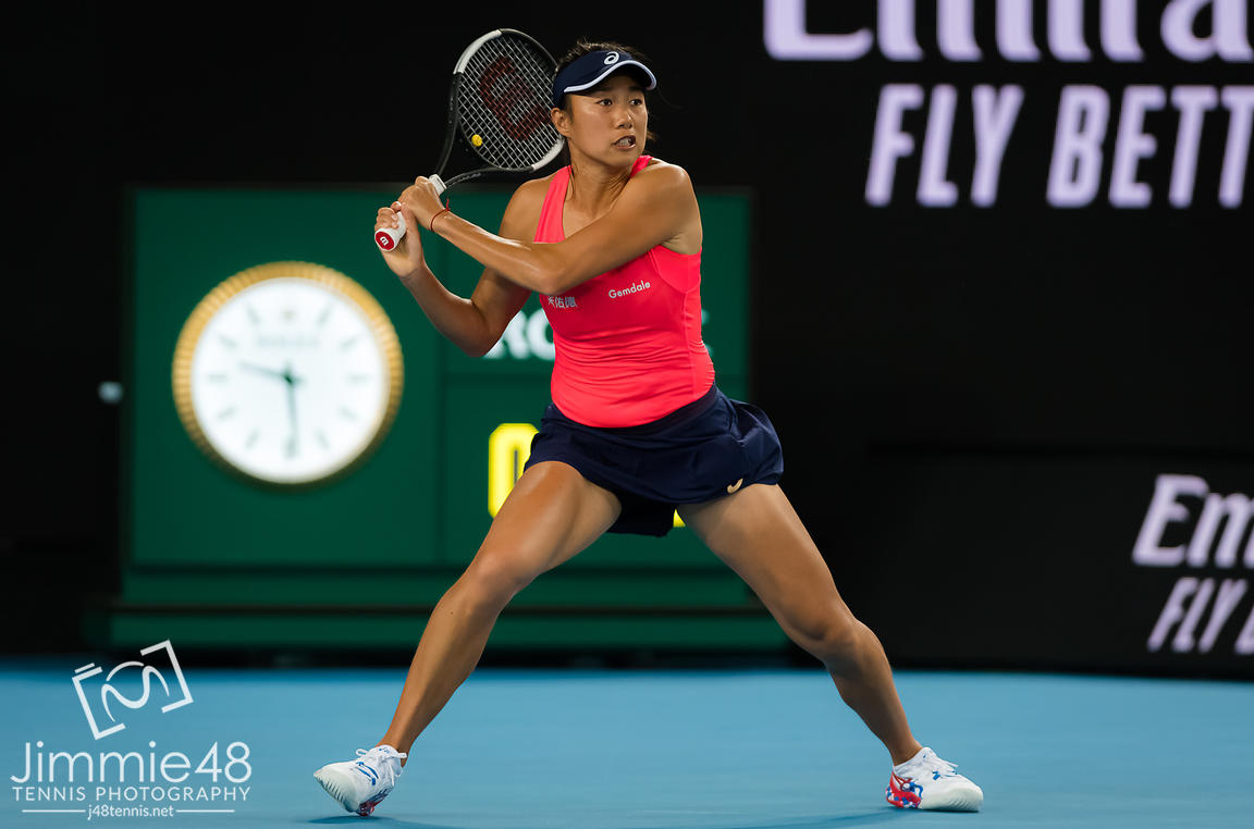 Shuai Zhang of China in action during her first round match at the 2020 Australian Open Grand Slam tennis tournament