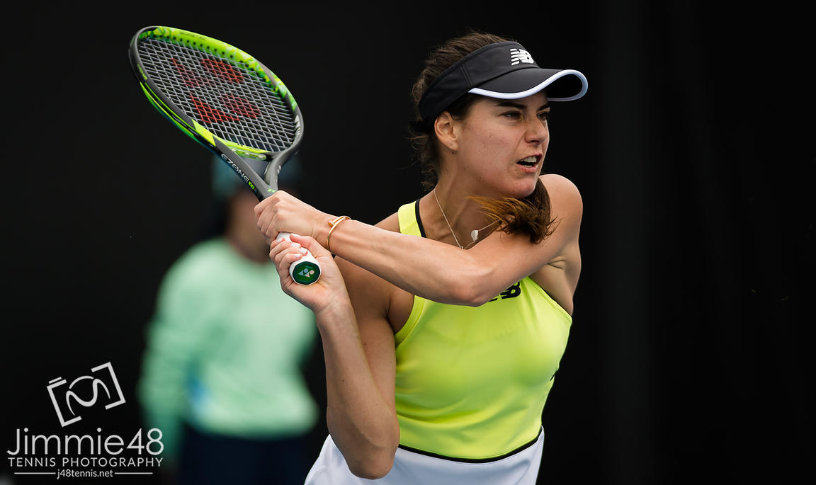 Sorana Cirstea of Romania in action during her first round match at the 2020 Australian Open Grand Slam tennis tournament