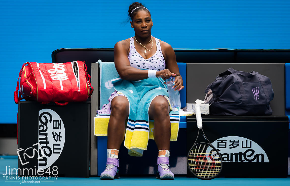 Serena Williams of the United States in action during her first round match at the 2020 Australian Open Grand Slam tennis tournament