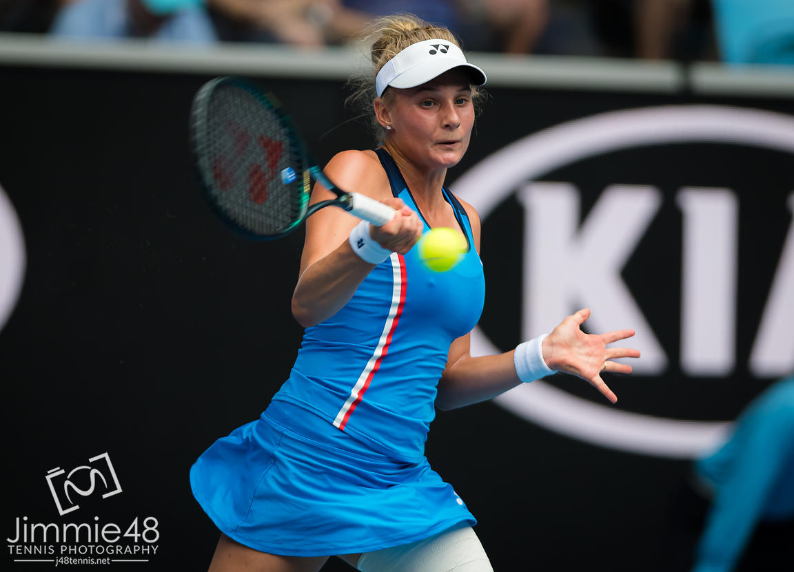 Dayana Yastremska of the Ukraine in action during her second round match at the 2020 Australian Open Grand Slam tennis tournament