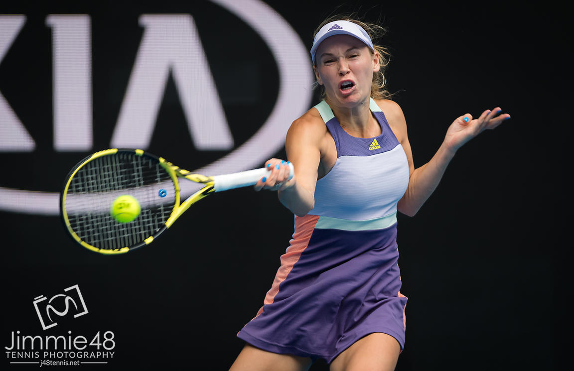 Caroline Wozniacki of Denmark in action during her second round match at the 2020 Australian Open Grand Slam tennis tournament